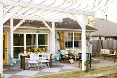 Stained concrete and pergola