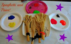Using spaghetti as paint brushes! love this idea!