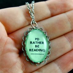 I'd Rather Be Reading - Pink Green or Blue Silver Bubble Necklace COLOR CHOICE