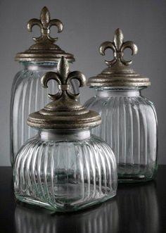 "Fleur de lis Apothecary Jars  - Set of three   (19"", 13"", 11"")  $39"