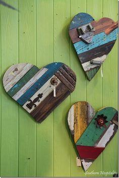 Art scrap wood hearts crafts