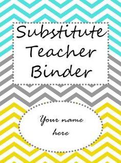 Free editable substitute teacher binder.