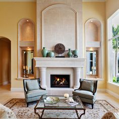 interior, living rooms, fireplace surrounds, family rooms, living room designs, living room fireplace, live room, modern retro, space design