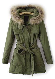 Army Green Plain Belt Cotton Blend Padded Coat