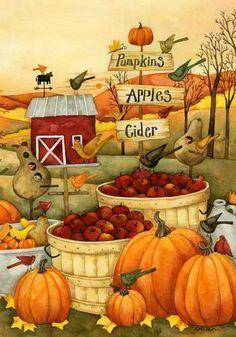 Fall folk art, window, autumn, pumpkins, fall, apple cider, apples, paintings, print
