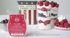 Scentsy June 2014 Scent of the Month - Berries Jubliee: Juicy, ripe summer berries in a billowy cloud of whipped cream laced with vanilla.