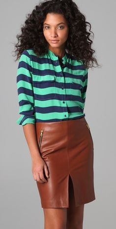 Mix colorful stripes with browns
