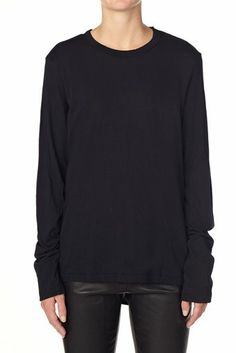 french seam t.shirt with tail black | bassike