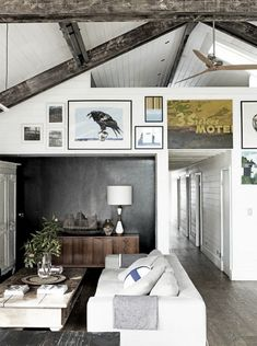 55 Airy And Cozy Rustic Living Room Designs | DigsDigs Washed beams, neutral w/ pops of color, art high