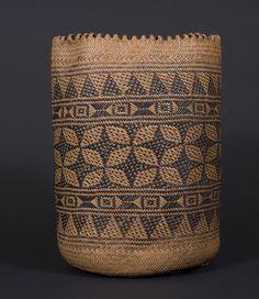 Ajat basket, Penan people. Borneo 20th century, 20 (cm) diameter by 33 (cm) height.