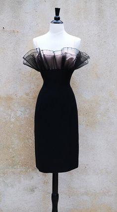 1950's black wiggle cocktail dress