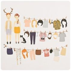 paper doll wall decals