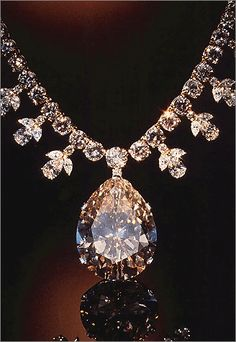Victoria-Transvaal Diamond    The dazzling pendant of this diamond and gold necklace is the 68-carat, champagne-colored Victoria-Transvaal diamond, which was discovered in South Africa in 1951. From the gem and mineral collections of the Smithsonian's National Museum of Natural History. Repined by Joanna MaGrath
