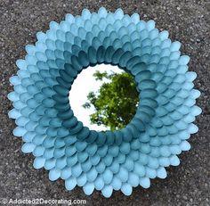 frame, spoon mirror, diy crafts, plastic spoons, chrysanthemums, wreath, diy mirror, blues, chrysanthemum mirror