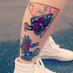 Fruit doing sports tattoo collection on my leg. All done by Beam @ Sid's tattoo parlour in Santa Ana. #watermelon #strawberry