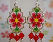 #beadwork Flower Power Peyote Stitch Earrings