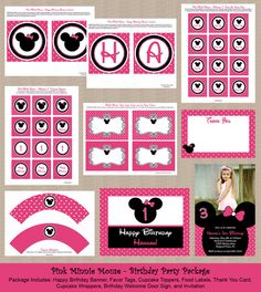Pink Minnie Mouse Birthday Party Package  Photo by Honeyprint, $30.00