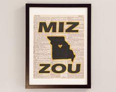 Vintage Mizzou Print - Columbia Missouri Art - Print on Vintage Dictionary Paper - I Heart Mizzou Wall Art - University of Missouri Art