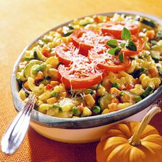 This vegetable, macaroni, and cheese casserole recipe is made with a low fat sauce--for a most welcoming comfort food.