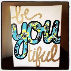 "Kappa Alpha Theta Lilly Pulitzer print ""beYOUtiful"" 8x10 stretched canvas painting"