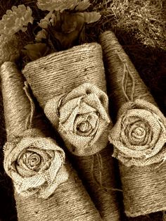 burlap wedding flower cones by oh one fine day on etsy.com