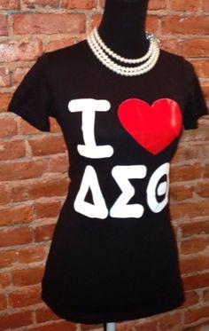 I Love Delta Sigma Theta T shirt (black) on Etsy,