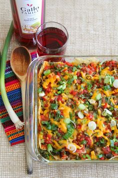 Baked Lentil Chilaquiles Casserole | ShockinglyDelicious.com. Easy Mexican breakfast for a crowd. Can also be dinner!   #SundaySupper #FathersDay #breakfast #Mexican #casserole