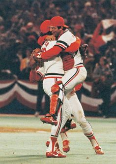 WED OCTOBER 20, 1982-----1982 World Series MVP Darrell Porter leaps into the arms of Cardinals reliever Bruce Sutter after the reliever struck out Gorman Thomas to win the Series. The St. Louis Cardinals defeated the Milwaukee Brewers in seven games to win the 1982 World Series. PHOTO COURTESY ST. LOUIS CARDINALS