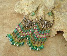 Boho Gypsy Chandelier Earrings Long Edgy Exotic by BohoStyleMe