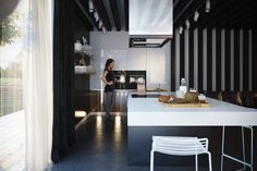 Kitchens with Contrast kitchen beauti, black kitchens, inthekitchen ii, hous, kitchen islands, kitchen designs