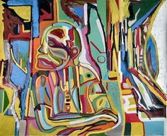 Art Paintings | Abstract art portrait of an American homeless man