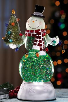 Acrylic Lighted Snowman Snow Globe Figurine