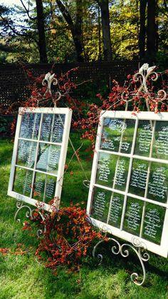 rustic window wedding seating chart