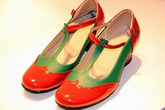 Red Green Vintage Inspired HandMade HandCrafted Vintage Leather T-strap Heels Flat