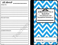 I Mustache You a Question Student Interview from K's Creation on TeachersNotebook.com -  (5 pages)  - Begin the school year with this great �Get to Know My Classmates� activity, and get in some Writing and Speaking and Listening standards at the same time!