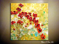 """Original Abstract Red Poppies Painting.Palette Knife.Impasto.Modern Textured Acrylic Painting.24""""  Ready to Hang   - by Nata S."""
