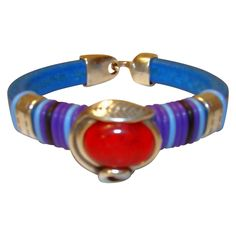 Strength:  Licorice Leather Blue and Red Bracelet