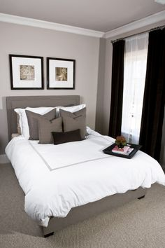 HGTV - bedrooms - Sherwin Williams - Versatile Gray - Mitchell + Gold Regis Bed, Sherwin Williams, Ivory lace, trim, paint, white, brown, gray, upholstered, headboard, bed, white, Pottery Barn, hotel, bedding, gray, stitching, gray, throw pillows, dark, brown, velvet, lumbar, pillow, art, chocolate, brown, velvet, drapes, gray, gray bedrooms, gray bedroom paint colors, gray bedroom walls,