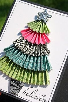 Paper Christmas tree. Cute idea for this years Christmas cards!!