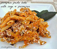 pumpkin pasta bake with sage & parmesan #healthy #fall #recipe cook, sage, food, pumpkins, parmesan, recip, pastas, pumpkin pasta, pasta bake