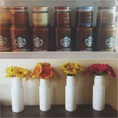 Step-by-step DIY iced coffee bottle vase: 1. Drink coffee 2. Paint bottle 3. Add flowers