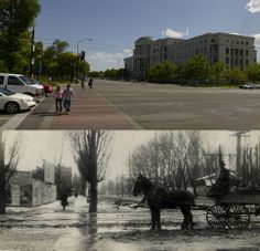 The view from the intersection of 400 S. State St. is seen on May 20, 2014, above and in 1908 in the bottom panel.