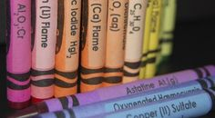 "Children play and draw with crayons practically every day, so why not make the experience more educational?     This is a set of 64 Crayola crayons with labels so that while children are coloring, they are also exposed to the names of chemicals that will make those colors!     So instead of thinking ""I want green"" they will think ""I want Barium Nitrate Ba(NO3)2 Flame""     Queinteresante_chemistry_crayons_set_-_64_crayons_with_labels_view1-sixhundred"