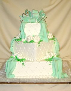 Three-Tier Cake with a Mint Bow