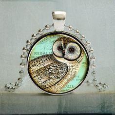 Vintage Owl Art Pendant