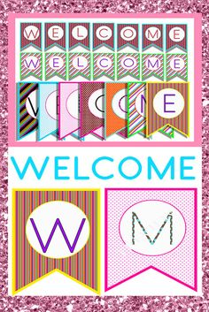 Welcome your students and visitors with these colorful pennants banners. This pack is enough for the whole week!! You can even mix and match the designs.  TIP: Make each set pop with ribbons and lace. :)