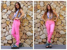 ♥ LOOK OF THE DAY 03-09-2012 ♥  ♥ Camisa Cuadriculada sin Mangas  ♥ Pantalón Rosa   ♥ Lenny Sandals