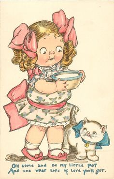 Oh come and be my little pet and see what lots of love you'll get♥ Grace Drayton illustration