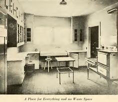 """A kitchen with cabinets: A place for everything and no waste space from """"Interiors Beautiful"""" by M.L. Keith, dated 1922."""