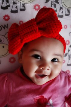 3 to 6 Months Big Red Bow Tie Baby Valentine Headband  by BabaMoon, $22.00